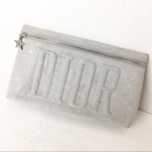 Dior Gray Zipper Clutch Make Up Bag